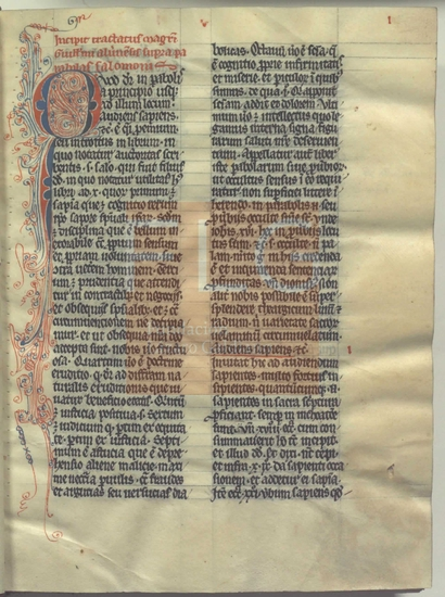 Tractatus magistri Guillermi Aluernensis supra parabolas Salomonis, [S. XV]. Fol. 1r