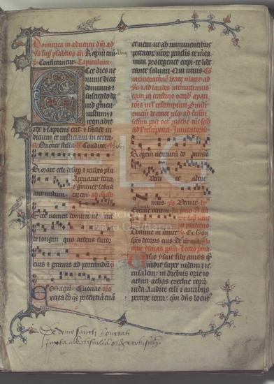 [Breviarium]] : Proprium de tempore. Missale, [S. XIV]. Fol. 1r