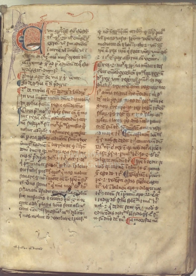 [Meditaciones y comentarios latinos ordenados por las dominicas del a�o], [S. XIV]. Fol. 1r