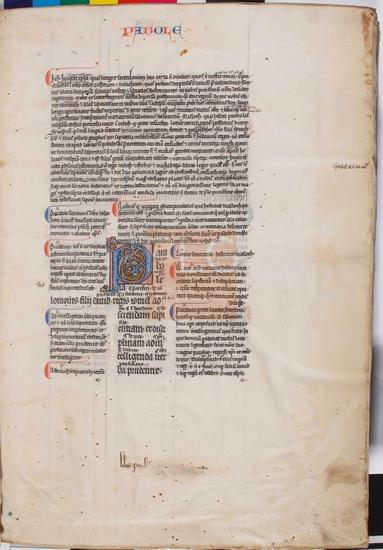 [Biblia latina cum glossa], [S. XIII]. Fol. 1r