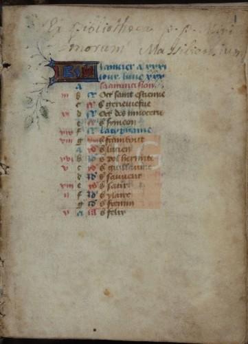 Hore B.M. secundum usum romanum [Manuscrito], [S. XV, post 1480] Fol. 1r