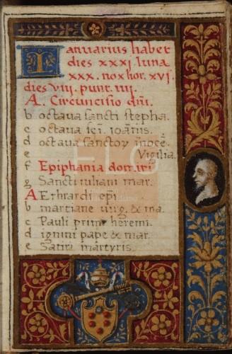 Officium Beate Marie semper Virginis secundum consuetudinem Romane curie [Manuscrito], [ca. 1518] Fol. 1v