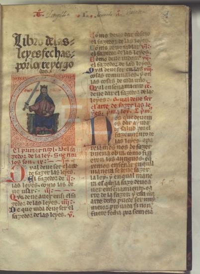 Libro de las leyes fechas por los reyes godos, [S. XIV]. Fol. 1r